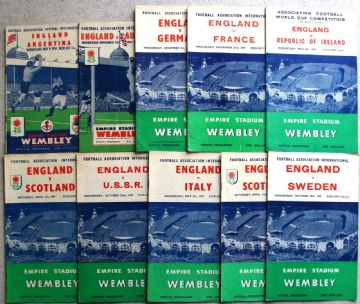 Collection of 10 different ENGLAND football programmes between 1951 and 1959